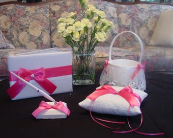 Wedding Guest Book Pen Ring Bearer Pillow and Flower girl Basket Assorted Colors on White