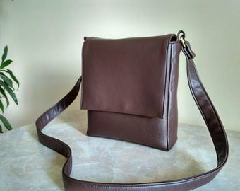 Mens messenger bag Dark brown purse Faux leather Crossbody men Brown satchel Personalized leather