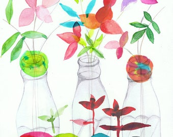 Watercolor Flowers and bottles