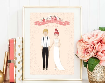Wedding Present Personalised, Wedding Illustration, Wedding Print, Anniversary Gift, Wedding Gift, Custom Wedding Portrait, Couple Print