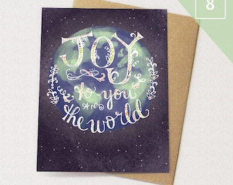 Joy to the world BOX of 8 Greeting Cards - Joy Cards, Paper goods, Stationery, Stars, World, Neutral Holiday Cards