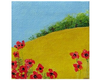 Miniature Painting 'Cornfield' with poppies, tiny painting, canvas, ready to hang