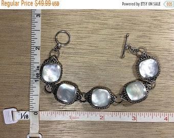 """10%OFF3DAYSALE Vintage 7.75"""" 925 Sterling Silver 23.2g Bracelet Mother Of Pearl Used"""