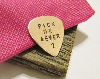 Marriage Proposal Gift for Musician Guitar Pick Valentine's Day Proposal Idea Music Gift Him Pick Me Forever? Fiance Gift Engagement Gifts