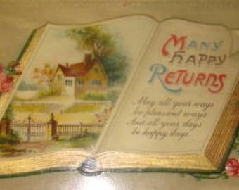 2 Pretty Vintage Floral/Sceanic/Book Postcard