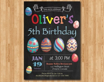 Easter birthday invitation. Easter Egg Hunt Invitation. Birthday party invite. Any age. Chalkboard. Boy or Girl. Printable digital DIY.