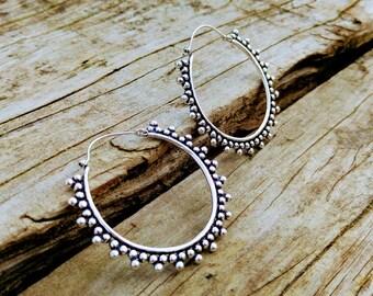 Silver ethnic style hoops, tribal hoop earrings, silver tribal earring, Indian earrings, Boho earrings