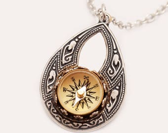 Silver Compass Necklace Small Compass Pendant Silver Compass Pendant Compass Necklace