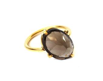 Smoky Quartz Stone Ring with angled claw setting, twisted setting, modern setting, smokyquartz, crooked setting, pong setting, sterling ring