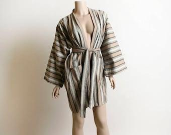 Vintage Linen Kimono - Japanese Haori Style Striped Kimono Jacket Top in Beige Gray and Black - Neutral Tones - Autumn Cotton
