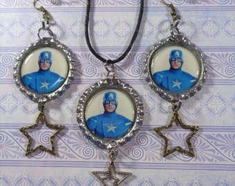 Chris Evans Earrings & Necklace Set Captain America Themed 1 Pair Of Earrings and 1 Necklace