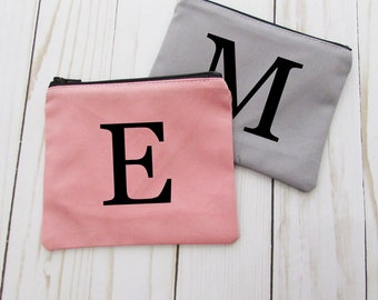 Coin Purse - Monogram Initial - Coin Purse - Change Purse - Small Credit Card Wallet - Zip Money Bag - CP01