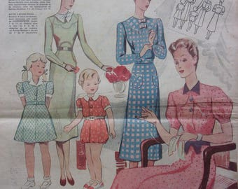 set of 12 vintage pages - 30s fashion - REF. 55105