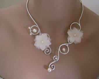 1 ivory/silver necklace, aluminum bridal/wedding/evening flower/bead (cheap)
