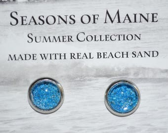 Seasons of Maine Summer Beach Sand Jewelry Made in Maine with sand from Old Orchard Beach Maine-Sand post earrings with a piece of Maine