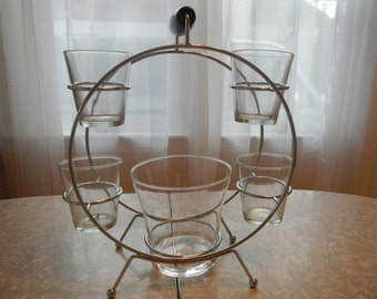 Mid Century Minimalist Drink Caddy with Ice Holder & 4 Glasses Summer/ Outdoor/ Festive Serving Ware