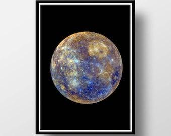 Mercury Print, Planet Print, Planet Wall Art, Space Wall Art, Mercury Wall Art, Mercury Photography, Space Print,  Planet  Art, Cosmos  Art
