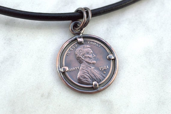 Lucky penny necklace us penny pendant custom made pendant aloadofball Image collections