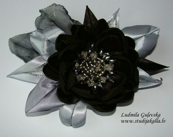 Handmade black-silver satin flower brooch, flower clip & pin, embroidered flower