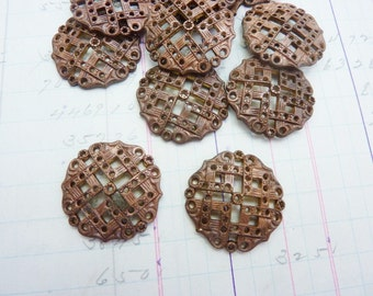 Vintage Brass Filigree Brass Stamping with Patina Slightly Domed (2 stampings) MT22