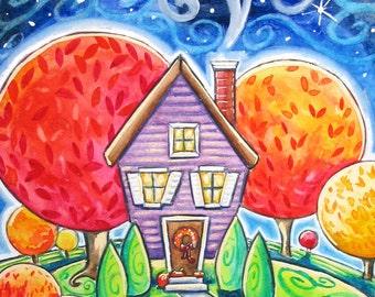 Autumn House - 5x7 print - black cat moon stars Fall landscape whimsy cozy