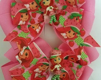 Strawberry Shortcake (inspired) Hair clip bows