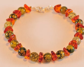 Bracelet Agate Dragon vein and Silver 925