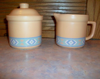 Treasure Craft Southwest Creamer and Sugar Bowl with Lid  Rare Find