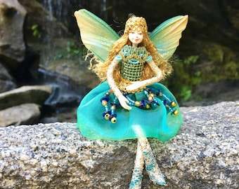 "Fae Folk® Fairies - AQUAFINA - Jewel Fairy. Bendable, posable 5"" soft doll can sit, stand, or hang."