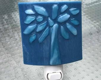 Night Light, Blue on Blue Glass, Raised Tree Design, Wall Plug In