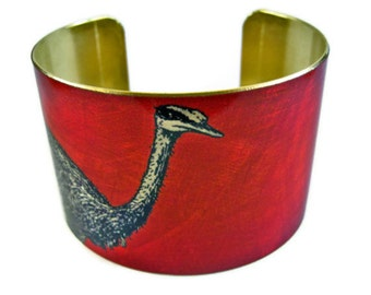 OSTRICH cuff bracelet brass Free Shipping to USA Gifts for her