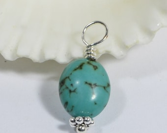 Natural Turquoise Wire Wrapped Pendant Wire Wrapped Beads