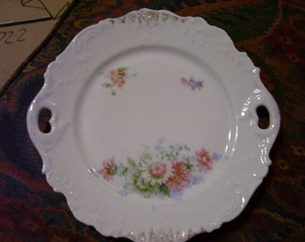 Floral Cake Plate with Handles