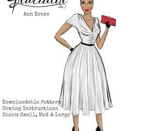 Fit and Flare Dress - Vintage Inspired Sewing Tutorial - Rockabilly Dress - 1950s Style Dress PDF Pattern - Full Skirt Ruched Bodice Dress