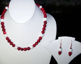 A Lovely Red Coral(dyed) and White Agate Necklace and Earrings. (2017162)