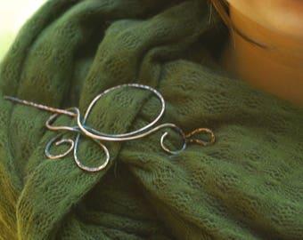 Hair Barrette Copper Bun Holder Hair slide Hair pin Oxidized copper hair slide  Copper Hair Stick Hair Pin Shawl pin Scarf brooch Celtic