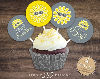 """Instant Download Sun Cupcake Toppers, 2"""" You Are My Sunshine Baby Shower Cupcake Toppers, Gender Neutral Grey Yellow Cupcake Decorations 72B"""