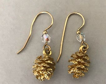 24 K Electroplated Vintage Gold Dipped Genuine Mini Pine Cone Dangle Earrings