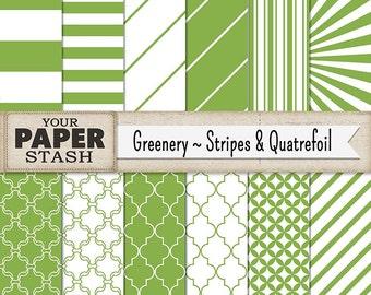 Green Striped Digital Backgrounds, Green Digital Paper Pack, Green Scrapbook Paper Diagonal Stripes St. Patrick's Day Instant Download