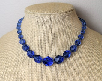 Art Deco 30s Necklace of Czech Blue Crystal and Faceted Glass