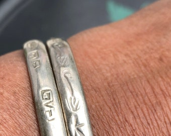 2 Signed Vintage Etched Sterling Silver Bangle Mexico Oaxacan Bohemian Bracelets/ Hippie Folk Indie Boho Jewelry