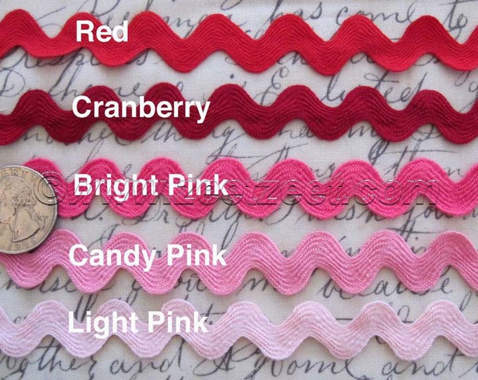 Candy Pink, Hot Pink, Light Pink - 10 Yards 5/8-inch RIC RAC Sewing Trim - Select a Color - Rick Rack 1.58cm