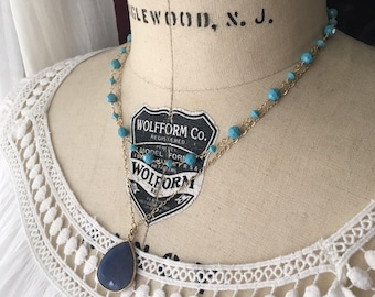 Turquoise Swarovski Crystal and Blue Quartz Pendant Double Necklace...Ready To Be Shipped...FREE SHIPPING