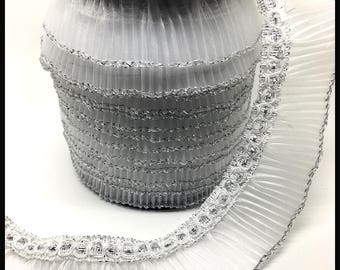 1 M Ribbon stripe gray and silver organza pleated sewing scrapbooking costume lace 21mm
