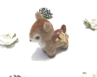 Needle Felted Animal Needle Felted Deer Bambi Miniature Deer Kawaii Home Decor Mothers Day Gift Birthday Day Gift Gift for Her