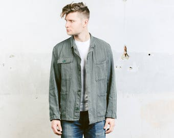 Men's DENIM Work Jacket . Vintage Workwear 70s Grey Chore Coat Jacket Sanfor Blazer Coat Menswear Boyfriend Gift . size Medium M