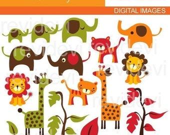 ANIMALS clipart sale, commercial use / zoo, wild animals, safari / Retro Jungle,  elephants, lions, giraffes, tigers clip art digital