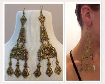 Ornate Vintage  Earrings -Victorian - Romantic - Pierced - Filigree - Lavalier - Duster - Statement Piece