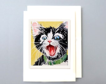 Blank Card, Funny card, Party Supplies, Greeting card, Black Cat Art, Watercolor Gift card, Crazy black kitty, Tuxedo  cat art, 7 x 5 , A7