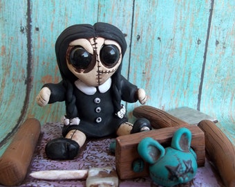 Wednesday Adams Playing,polymer clay sculpture,collectible,,figurine,nick knack,art toy,original sculpture,stitchling,Covington Creations